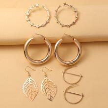 4pairs Leaf Design Earrings