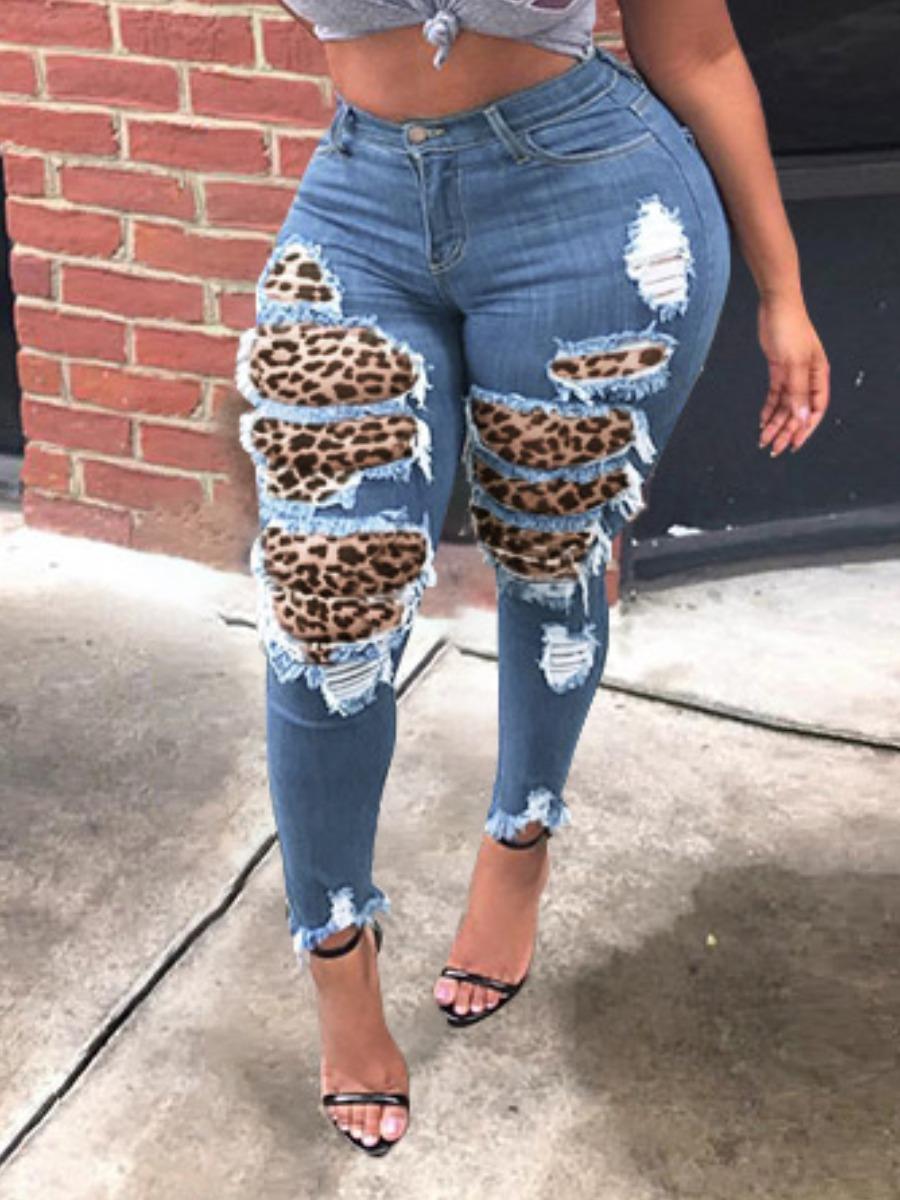 LW lovely Street Leopard Print Patchwork Blue Jeans
