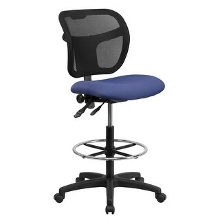 Mid-Back Black Mesh Drafting Chair with Back Height Adjustment - 25.25