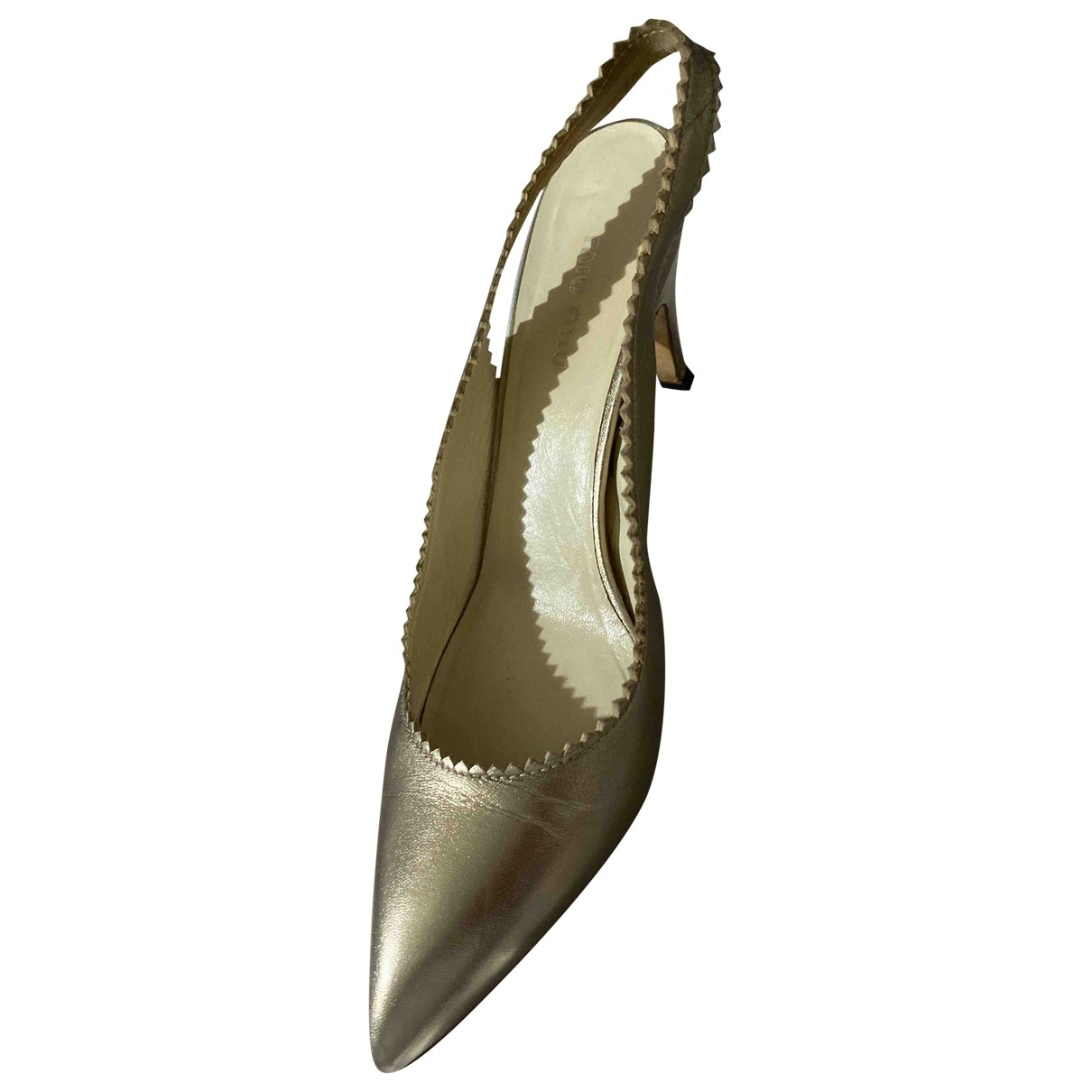 Miu Miu \N Gold Leather Heels for Women 37.5 EU