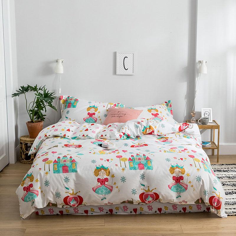 Princess Castle Reversible Four-Piece Sheet Set 100% Cotton Bedding Sets Endurable Skin-friendly Twin Full Queen