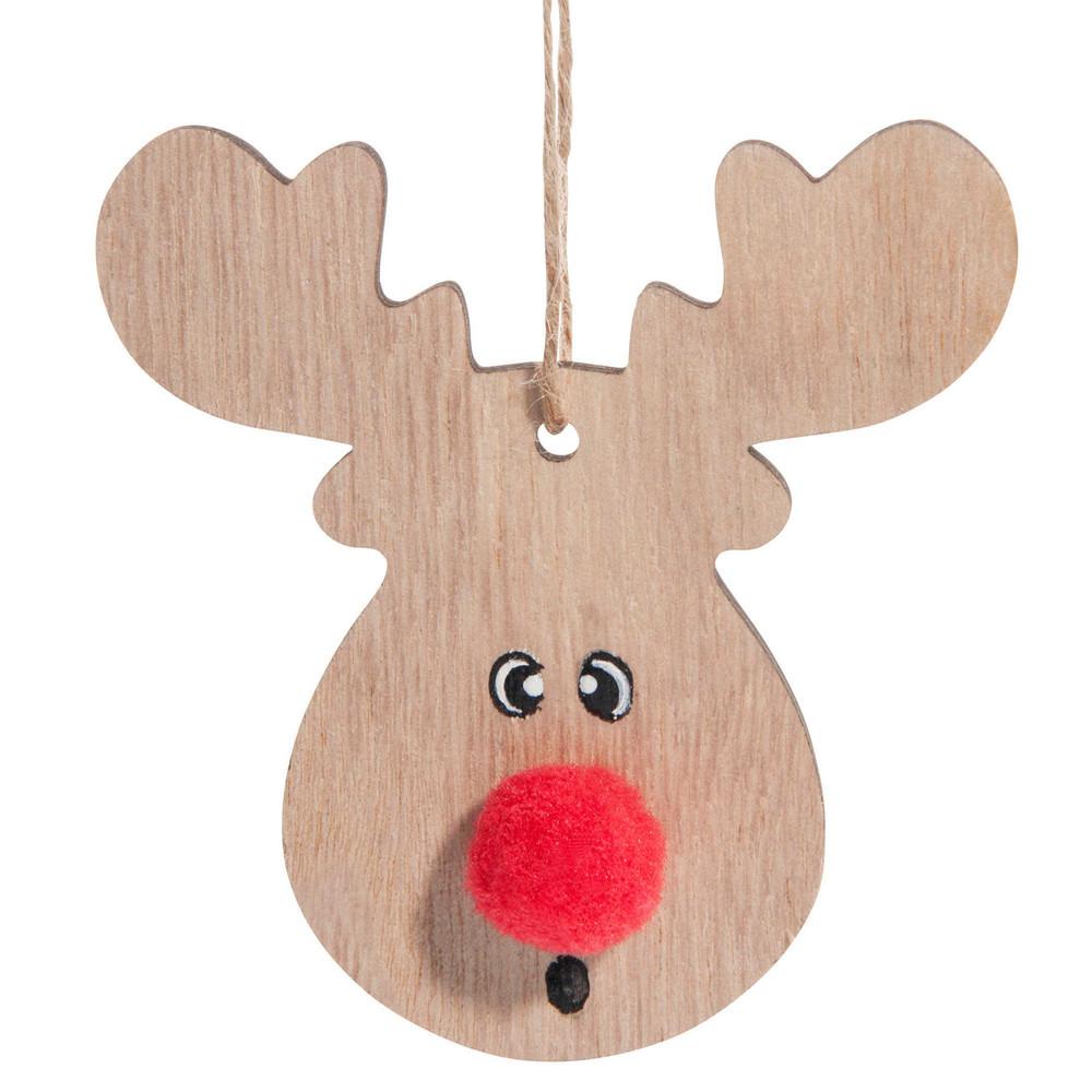Weihnachtliche Haengedeko Elch mit rotem Pompon