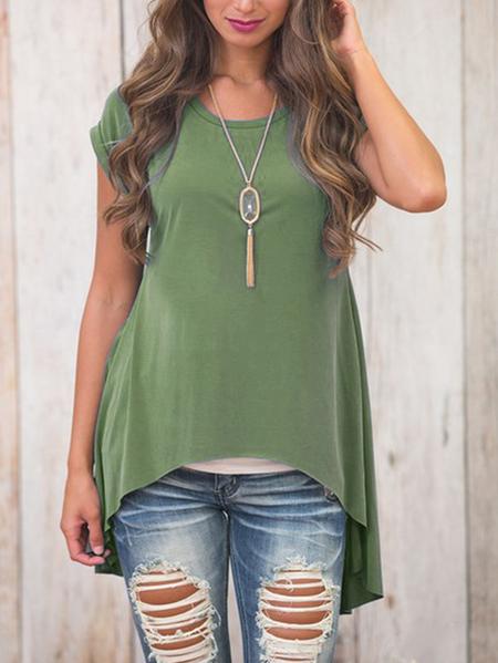 Yoins Green Slit Design Plain Crew Neck Short Sleeves High Low Hem T-shirts