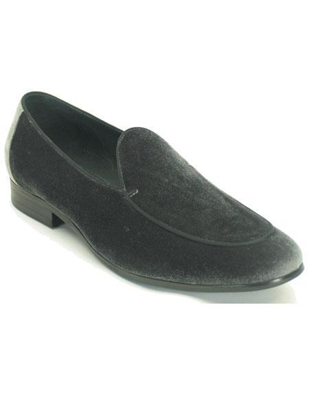 Men's Pointed Toe Genuine Grey Velvet Slip On Tuxedo Formal Dress Shoe