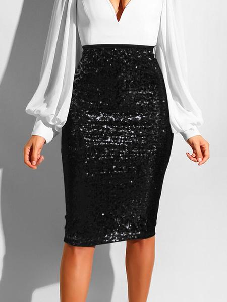 Milanoo Women Skirt Blond Sequins Polyester Knee Length Autumn And Winter Women Bottoms