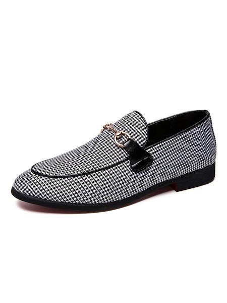 Milanoo Zapatos sin cordones de lona con pata de gallo para hombre