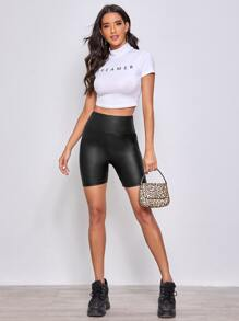 Wide Waistband Leather Look Shorts