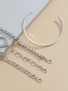 4pcs Rhinestone Decor Bracelet