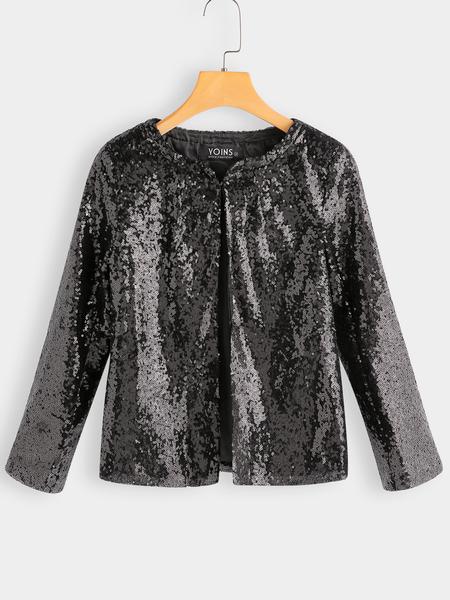 Yoins Blazer with Sequin Detail in Black