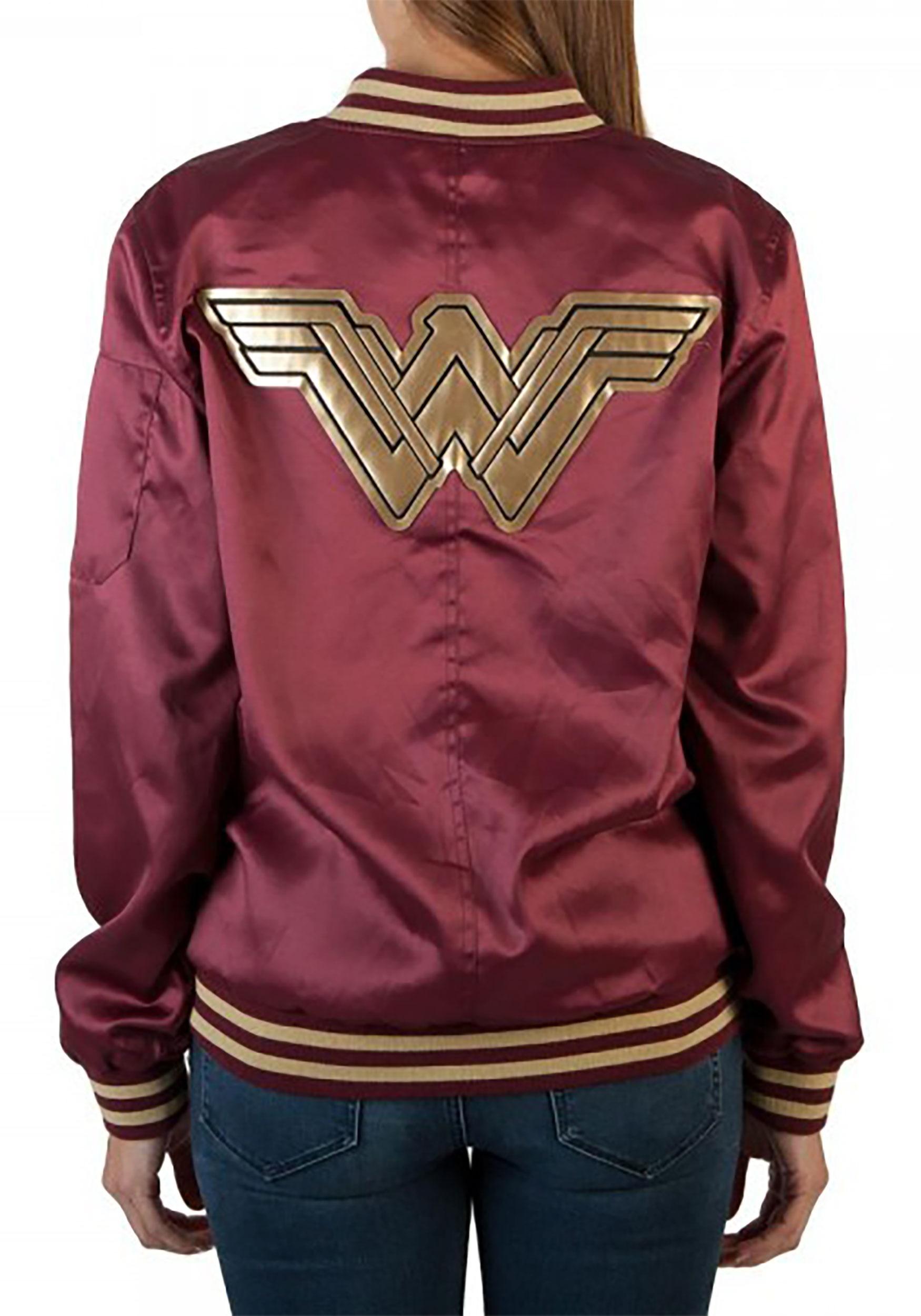 Women's Wonder Woman Logo Bomber Coat
