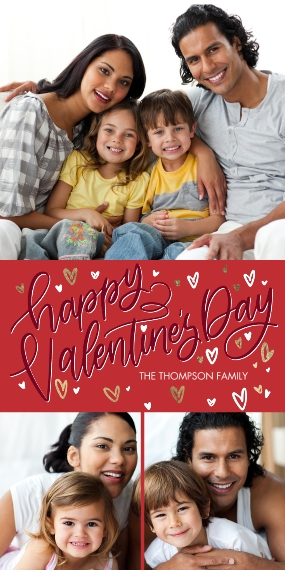 Valentines Day Cards Flat Glossy Photo Paper Cards with Envelopes, 4x8, Card & Stationery -Valentine Lots of Hearts Memories by Tumbalina