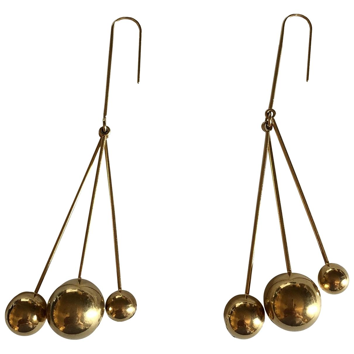 Celine Dot Gold Metal Earrings for Women \N