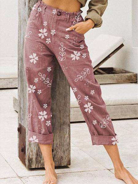 Milanoo Women\'s Pants Khaki Floral Casual Polyester Printed Trousers