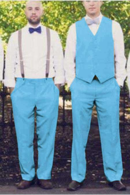 Matching Waistcoat Wedding Prom Vests & Flat Front Pants Set Sky Blue
