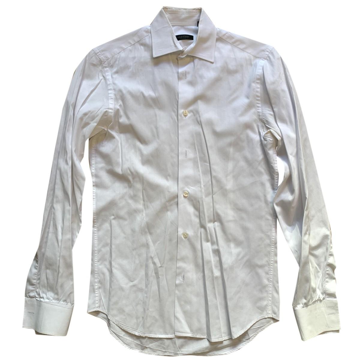 Calvin Klein \N White Cotton Shirts for Men 15 UK - US (tour de cou / collar)