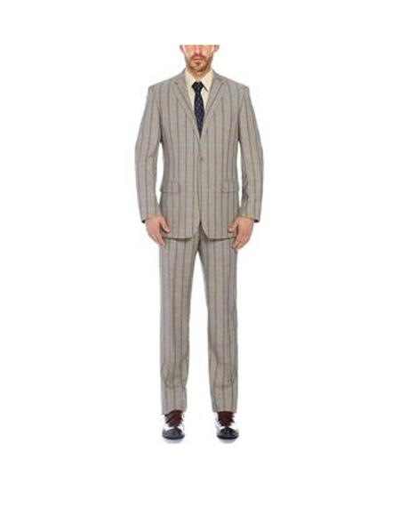 Mens Notch Lapel Single Breasted Mixture Classic Fit Suit