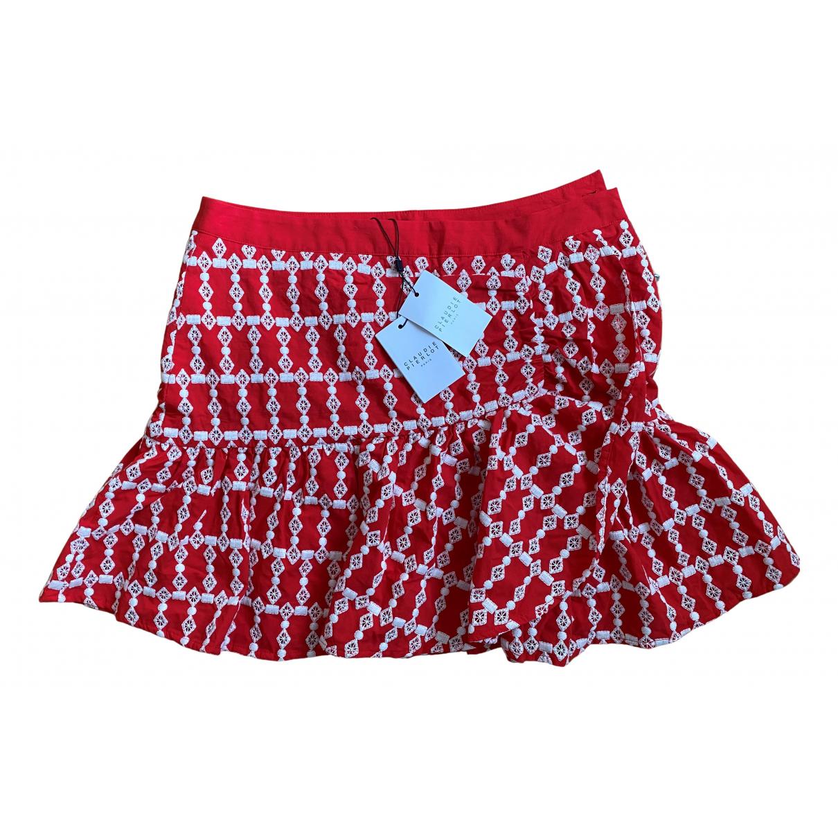 Claudie Pierlot Spring Summer 2020 Red Cotton skirt for Women 36 FR