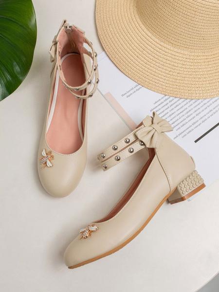 Milanoo Sweet Lolita Footwear BowsMetal Details PU Leather Puppy Heel Lolita Pumps