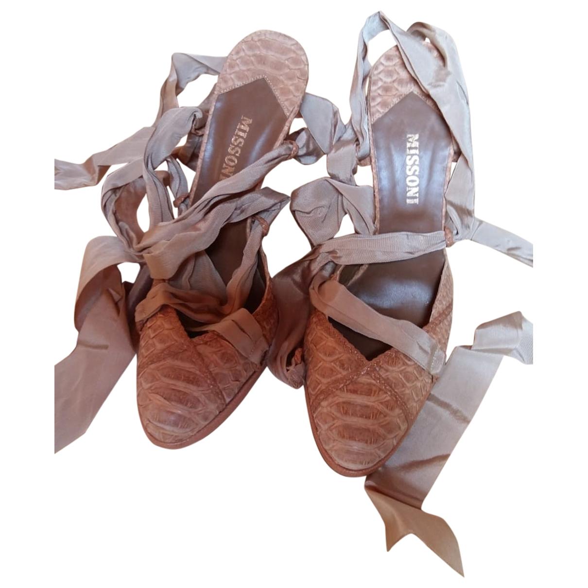 Missoni - Sandales   pour femme en cuir - beige