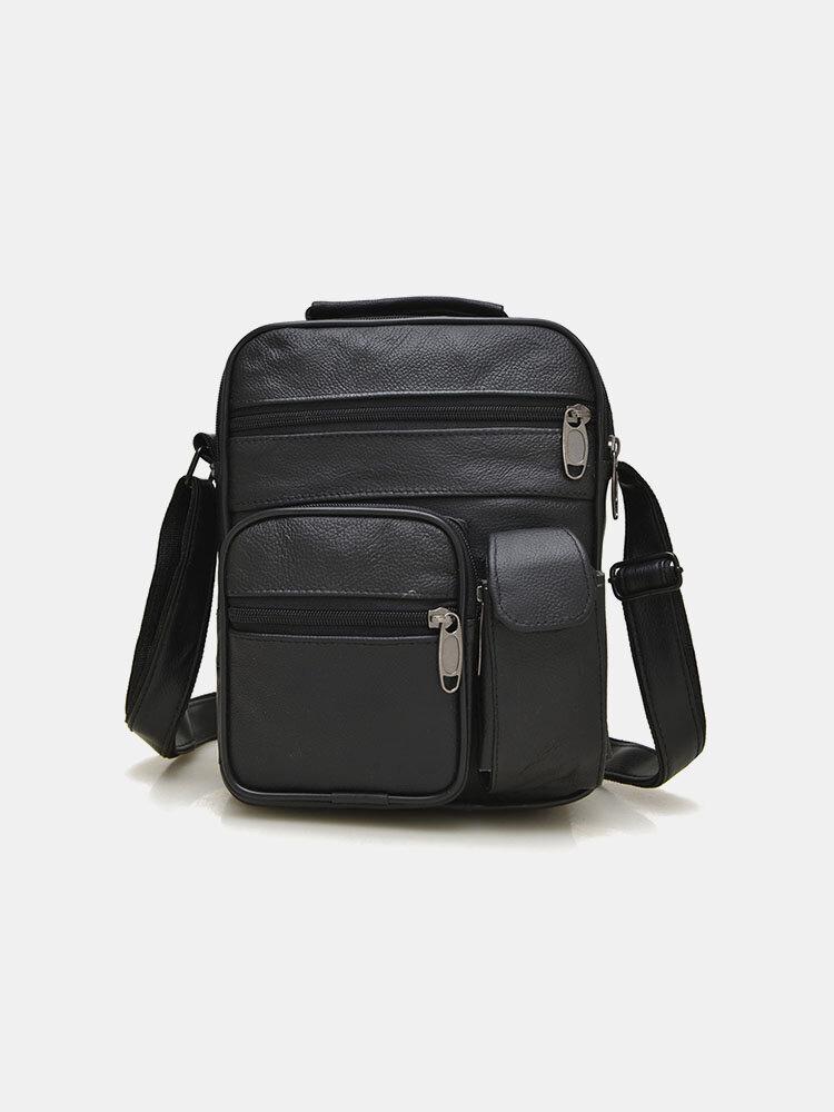 Men Genuine Leather Multifunction Multi-pocket Crossbody Bag Shoulder Bag