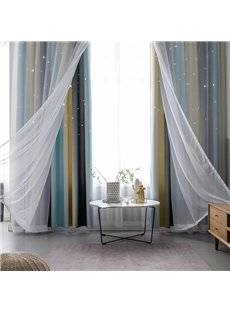 Colorful Cloth and White Voile Sewing Together Star Hollowed-out 2 Panels Curtains