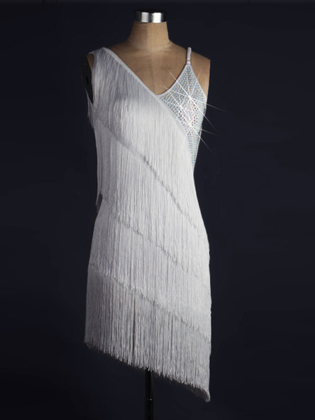 Milanoo Dance Costumes Latin Dancer Dresses Irregular Design Sleeveless Fringes Beaded Backless Bodycon Dancing Clothes Hallloween