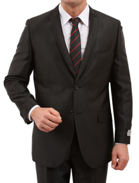 2 Button Black Front Closure Satin Trim Peak Lapel Suit Mens Cheap