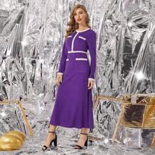A-Linie Kleid mit Kontrast Saum und Perlen Dekor