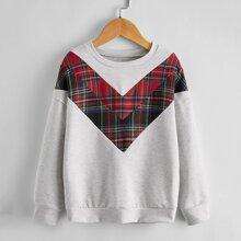 Sweatshirt mit Karo Muster und Chevron Einsatz