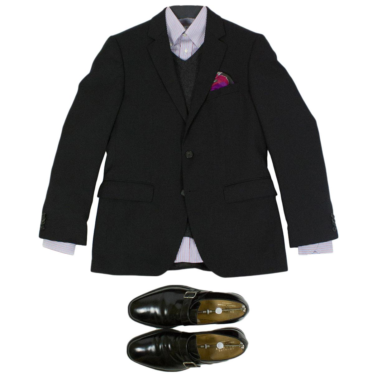 Hugo Boss N Black Wool Suits for Men 36 UK - US