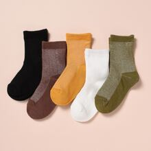 5pairs Toddler Kids Simple Plain Socks