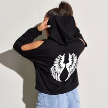 Plus Wings Print Cold Shoulder Drawstring Hoodie