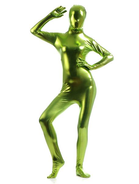 Milanoo Disfraz Halloween Verde Cosplay metalico brillante Zentai trajes para las mujeres Halloween
