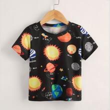 Kleinkind Jungen T-Shirt mit Planet & Buchstaben Grafik