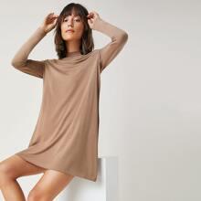 Mock-Neck Solid Dress