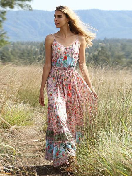 Milanoo Boho Maxi Dresses Summer Floral Print Women Straps Long Beach Dress