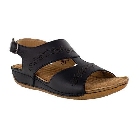 Easy Street Sloane Womens Adjustable Strap Footbed Sandals, 11 Medium, Black