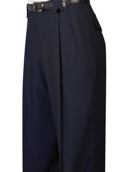 Mens Pure Wool Black Wide Leg Dress Pants