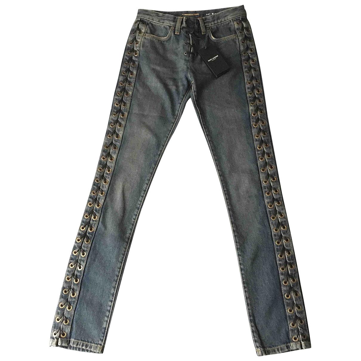 Saint Laurent \N Blue Cotton Jeans for Women 25 US