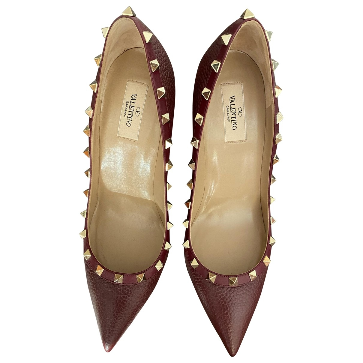 Valentino Garavani Rockstud Burgundy Leather Heels for Women 41 EU