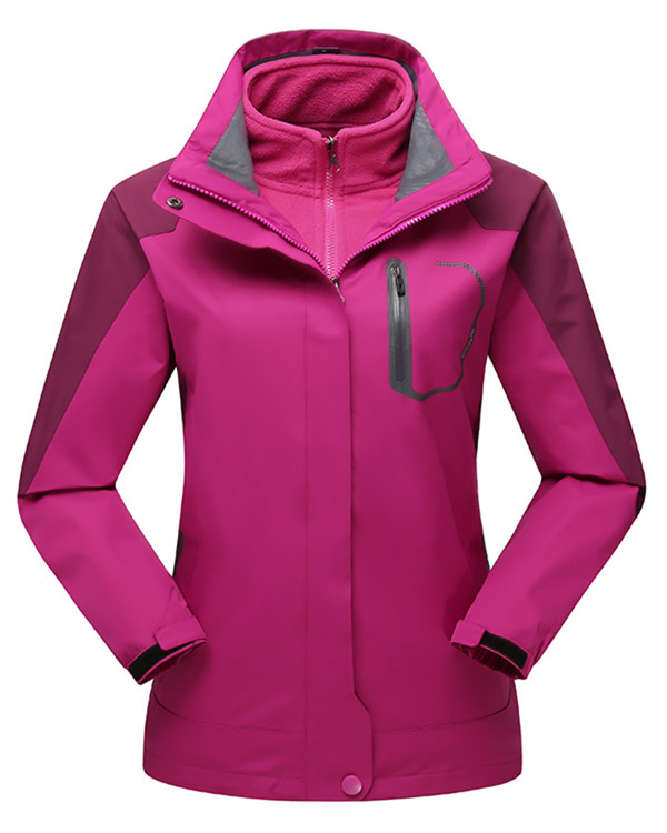 Female Waterproof 3 in 1 with Fleece 2 Piece UV-Protection Winter Warm Camping and Hiking Jacket