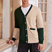 Men Button Front Color Block Cardigan