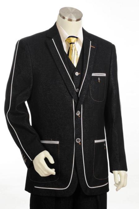 Mens 2Button Denim Cotton Fabric Two Tone Blazer/Suit/Tuxedo Black