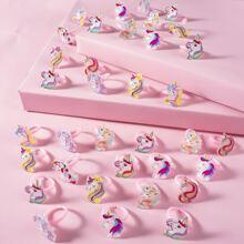 36 piezas anillo de niñitas con diseño de unicornio de dibujos animados