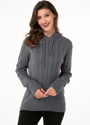 Trendy Cable Knit Hooded Collar Long Sleeve Sweater - XL