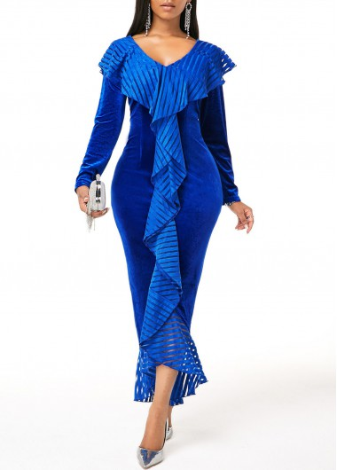 Cocktail Party Dress Flounce Long Sleeve Velvet Bodycon Dress - M