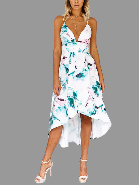 Yoins Sweet Low V-neck Maxi Slip Dress with Random Floral  Print