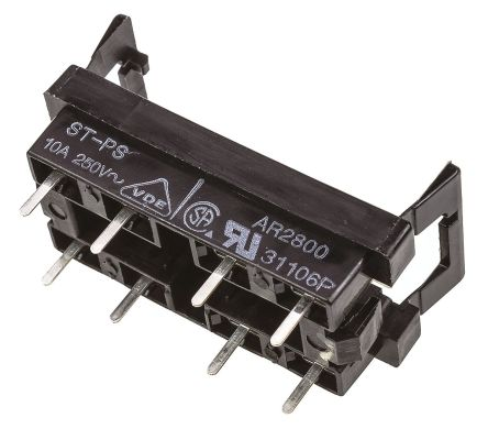 Panasonic 8 Pole Relay Socket, 380V ac for use with ST Series