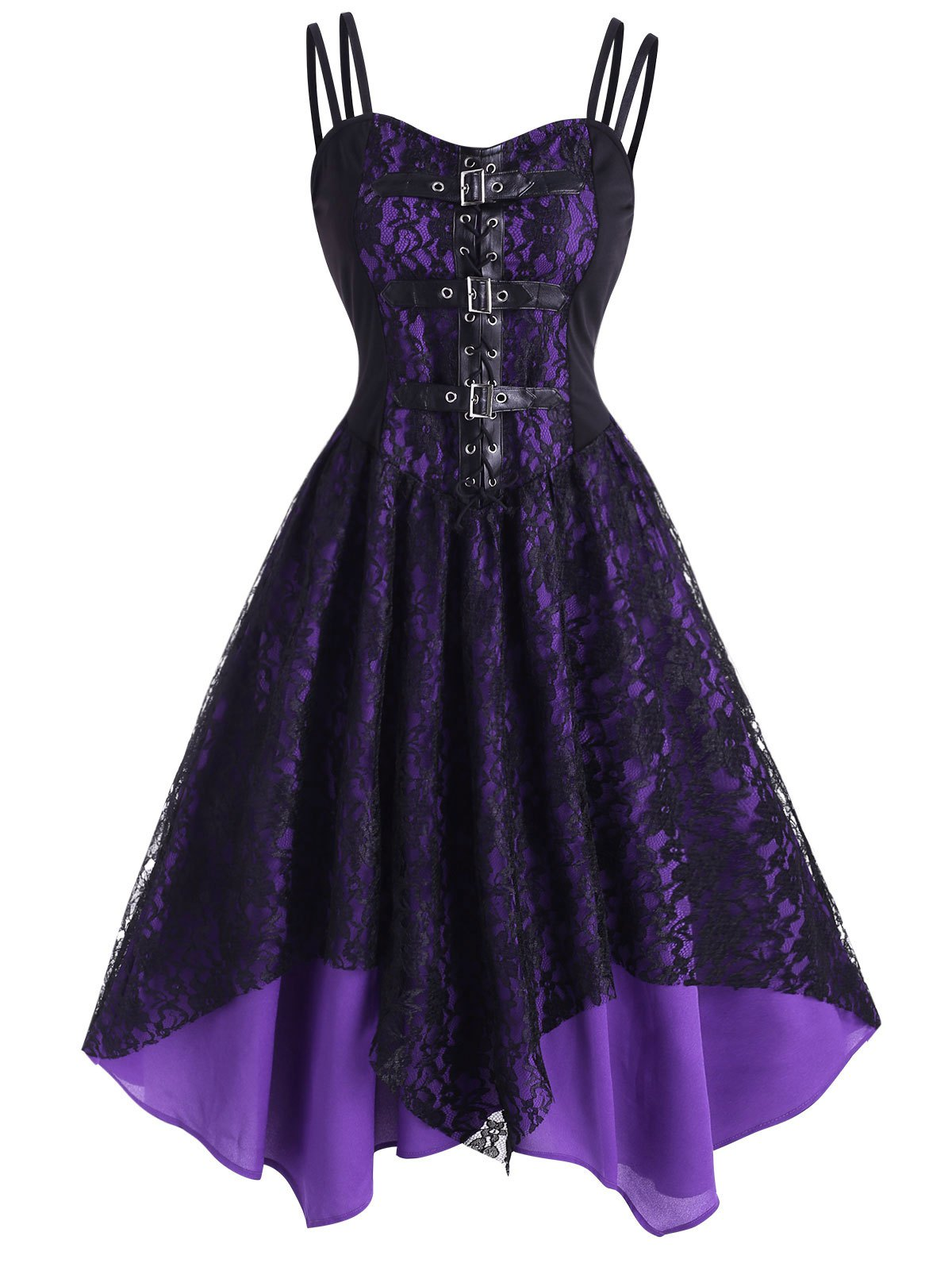 Lace Overlay Lace-Up Dual Straps Handkerchief Dress
