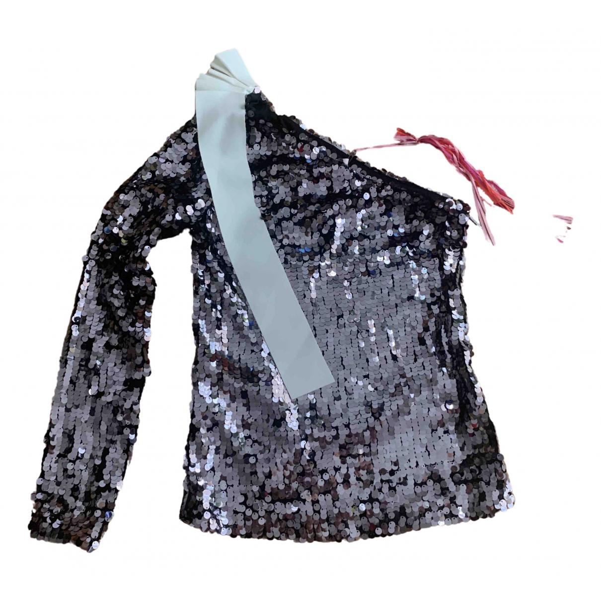 Msgm - Top   pour femme en a paillettes - metallise